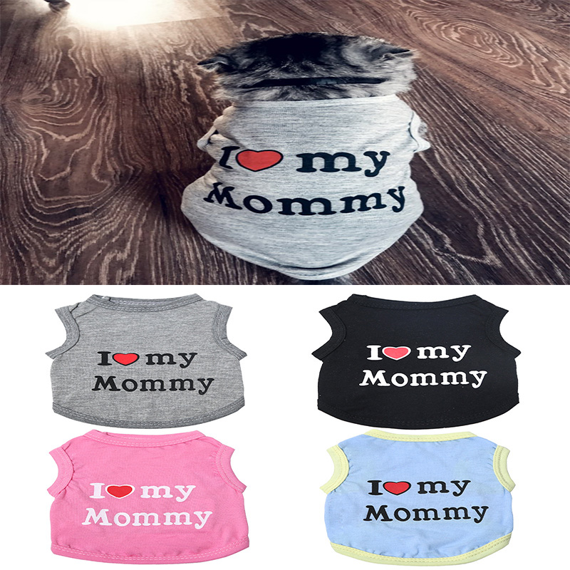 Love Cat Clothes Cotton Pet T Shirts Clothing For Cats Vest Summer Cat Clothes Mommy Daddy Vest Gatos Pet Clothing 40s1