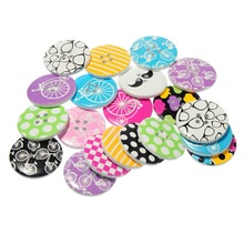 100Pcs Mixed Multicolor Pattern 4 Holes Wooden Sewing Buttons DIY Crafts Scrapbooking Findings 3cm