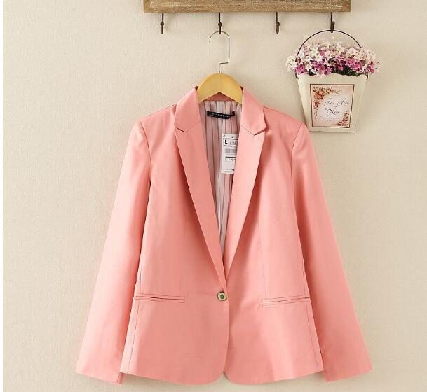 NEW 2017 spring autumn blazer women suit foldable brand jacket made of cotton & spandex Ladies refresh blazers Candy Color 1