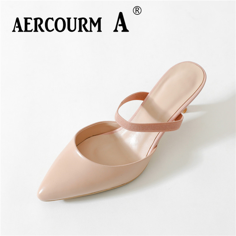 Aercourm A 2018 Summer Women Genuine Leather Sandals Shoes Female Black Solid Shoes Thin Heels Women Pumps Slipper Shoes FDE9022 aercourm a 2018 women black fashion shoes female bright genuine leather shoes pearl high heel pumps bow brand new shoes z333
