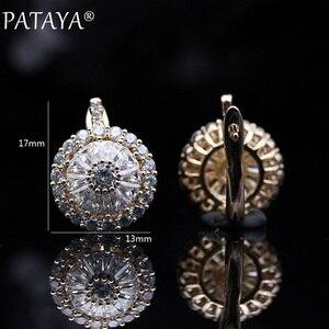 Image 5 - Pataya 새로운 오리지널 디자인 585 로즈 골드 럭셔리 마이크로 왁스 속지 천연 지르코니아 매달려 귀걸이 여성 결혼 귀걸이 쥬얼리