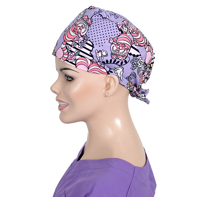 Tiger Print Surgical Scrub Cap Nursing Work Hat For Women Stylish Tieback Cotton Surgeon Hospital Hats Medical Caps
