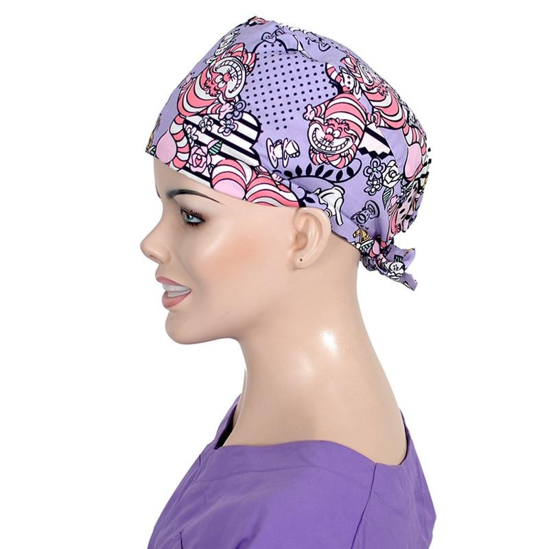 Tiger Print Surgical Scrub Cap Nursing Work Hat For Women Stylish Tieback Cotton Surgeon Hospital Hats Medical Caps