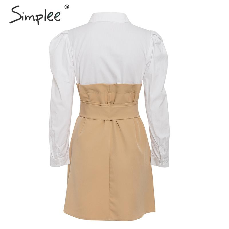 Simplee Patchwork puff sleeve shirt dress women Elegant button sash belt office ladies dresses Autumn ladies khaki work dress 14