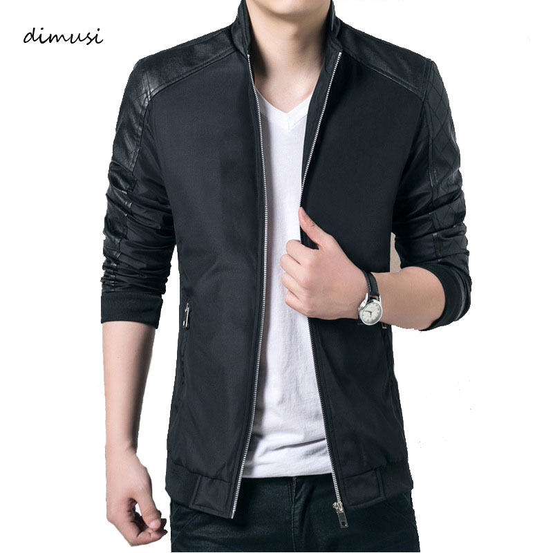 DIMUSI Spring Autumn Men's PU Patchwork Jackets Casual Men's Thin Solid Jackets Male Slim Windbreaker Jacket And Coats 5XL,YA701