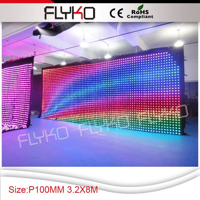 Flykostage 3,2 м высокая 8 м ширина p10см дисплей изображение занавес высокая яркость светодиодный видео экран
