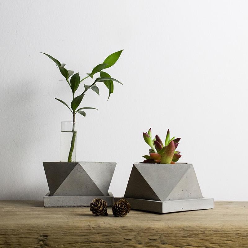 V008 geometric polygon concrete planter silicone mold home for Concrete craft molds
