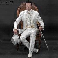 2018 Новый Жених костюм белый свадебный костюм жениха золото кружевное с вышивкой Костюмы