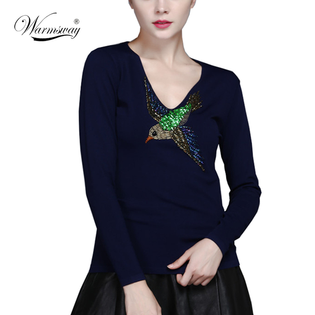 HIGH QUALITY Newest Fashion 2017 Runway Women's Long Sleeve Luxury Beading Bird Embroidery Vintage Pullover Sweater WS-094