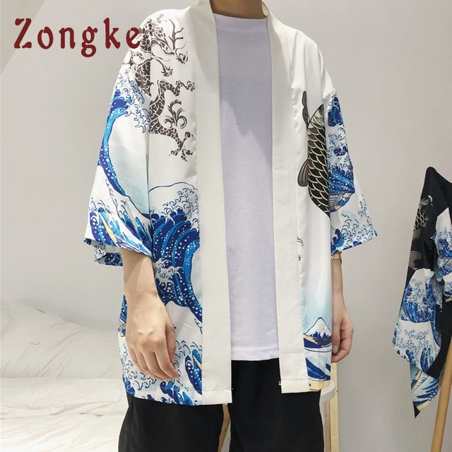 Zongke Japanese Kimono Cardigan Men Wave and Carp Print Long Kimono Cardigan Men Thin Mens Kimono Cardigan Jacket Coat 2018 4