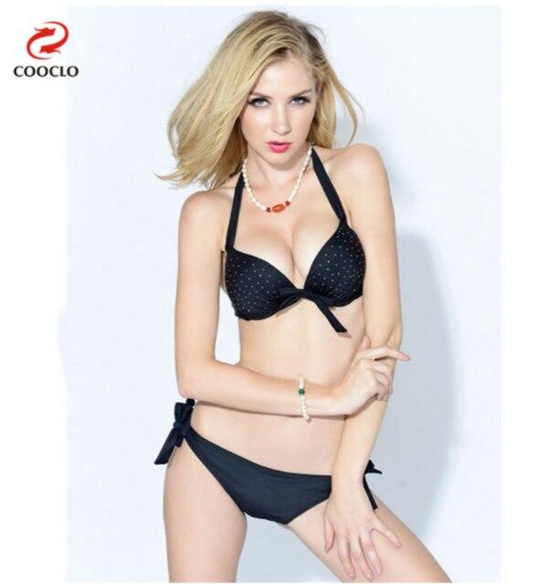 2016 sexy with Hot drilling bikini push up swimwear explosion models black  biquini vintage brand name women bikini set 60d1321fac19