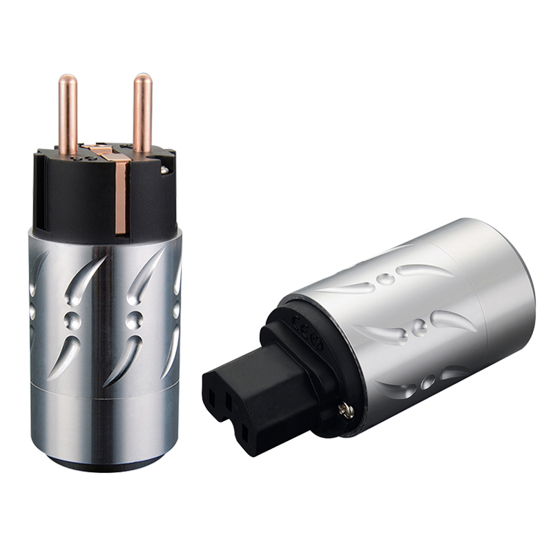 Viborg Paire En Alliage D'aluminium VE502 VF502 Pur Cuivre UE Plug Type Schuko Plug Power Hifi & IEC Femelle Connecteurs