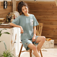 BZEL 2019 Summer Pop Cute Sleepwear Women Pajama Sets Girls Short Sleeve Round Neck Shirt and Teddy Bear Pattern Pants Sleepwear(China)