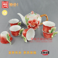 Colored enamel porcelain kung fu tea set high grade 1teapot 380ml +6 teacup 50ml for wedding gift