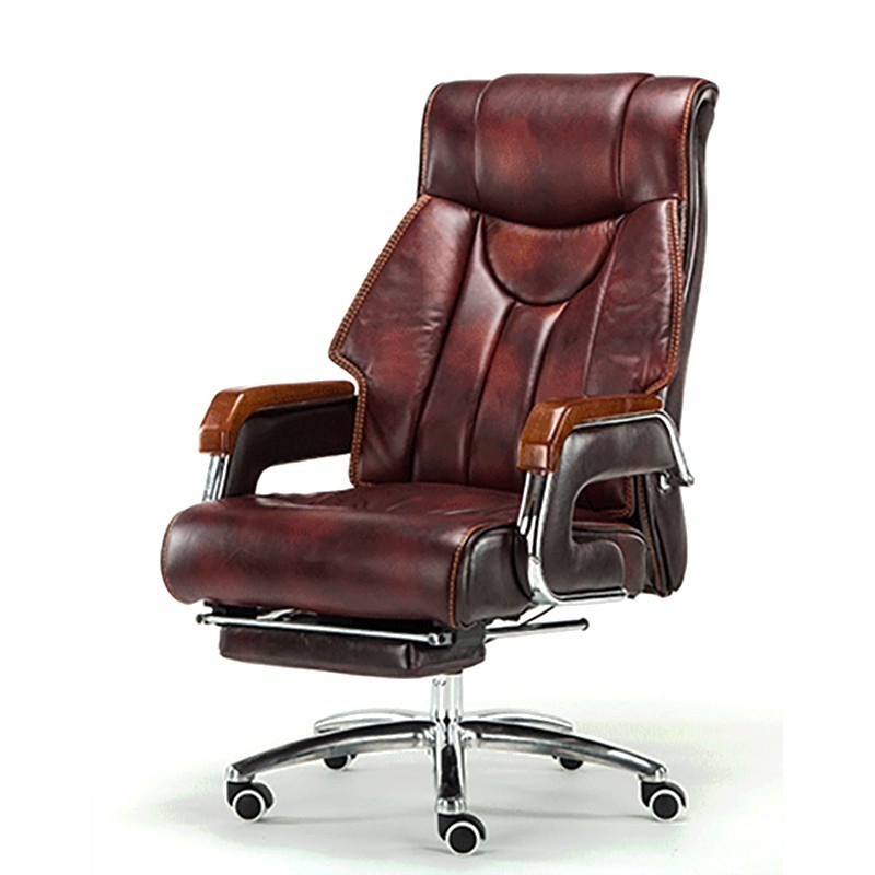 Luxury Quality Cowhide 8770 Silla Gamer Gaming Boss Poltrona Chair With Footrest Genuine Leather Can Lie Wheel Massage