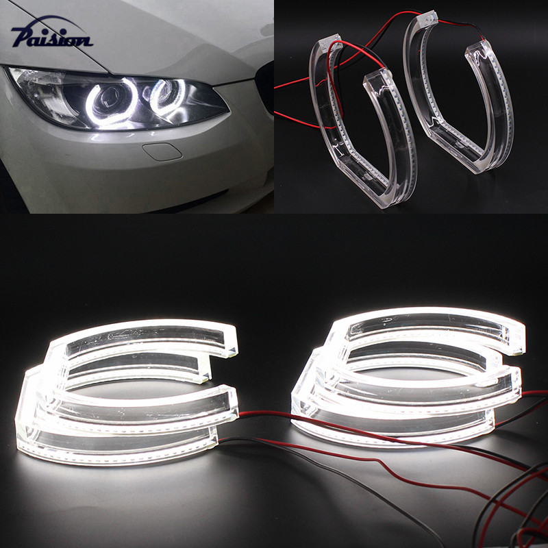 7000K Xenon White Square Bottom LED Angel Eyes Halo Rings w Crystal Acrylic Covers For BMW