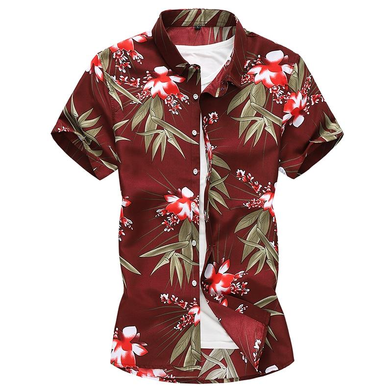 2019 Summer New Mens Floral Dress Shirts Plus Size 7XL Short Sleeve Hawaiian Shirt Slim Fit