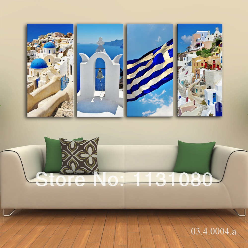 NO FRAME CANVAS ONLY 4pieces White Blue Santorini In Greek Islands Canvas  Painting Wall Sticker Home Decor Printed On Canvas  In Painting U0026  Calligraphy From ...