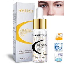 24K Gold Six Peptides Serum Anti Wrinkle Collagen Whitening Firming Face Cream Pure Hyaluronic Acid Skin Care Essence efero 3pack collagen hyaluronic acid essence serum for face cream whitening skin care anti aging lifting firming anti wrinkle