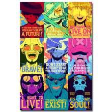 Affiche en tissu de soie avec dessin animé Strong World, 12x18 24x36 pouces, singe D Luffy Zorro ACE, images murales 001