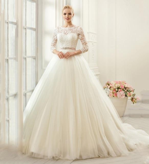 PW278 Luxus Ivory 3/4 Hülse Tüll Hochzeitskleid Spitze Appliques ...