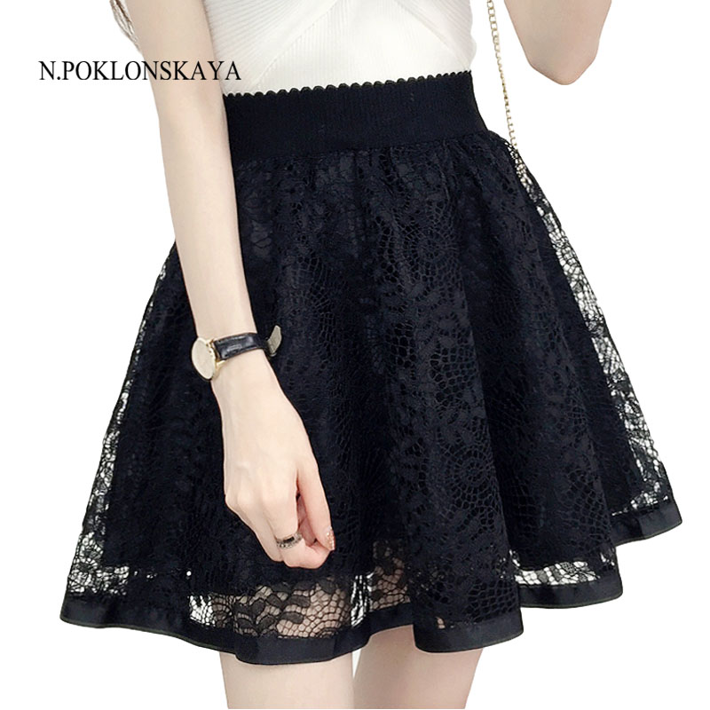 Women Tulle Lace Skirt 2018 New Spring Summer Elastic High Waist Short Mini Pleated Skirts Womens lolita Girls Tutu Shorts Skirt