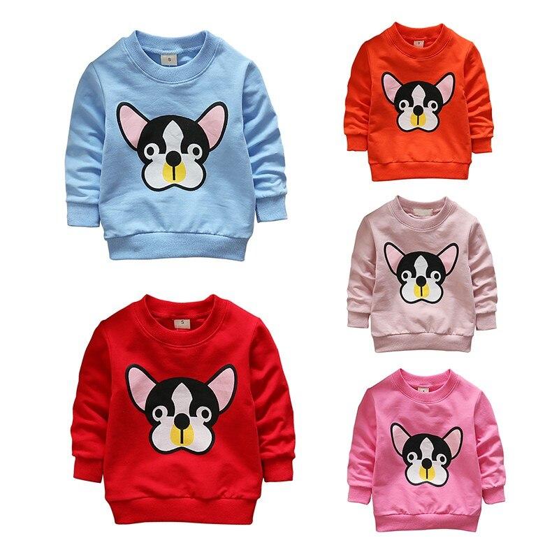 2018 New Spring Autumn Children Boy Girl Hoodies Sweatshirts Cartoon Dogs Long Sleeve Cotton Crew Neck Sweatshirts Blouse