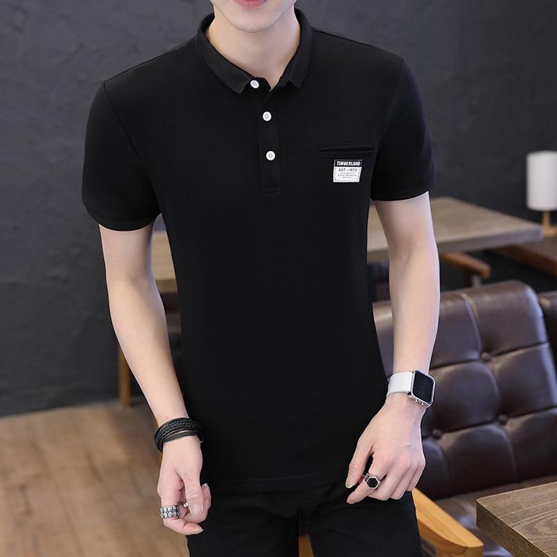 Mens Polo Shirt Summer Style Men Business Casual Solid Color Short Sleeve Polo Shirt Slim Cotton Polo Shirt Men Fake Pocket 21