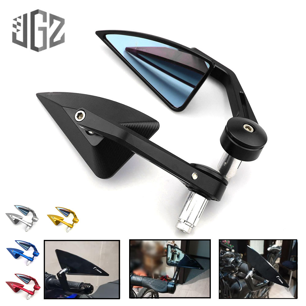 ZXW 7//8 Inch 22Mm Motorcycle Handlebar Rearview Mirror Oval CNC Billet Aluminum Blue Anti-glare Motorcycle Side Mirror Gold