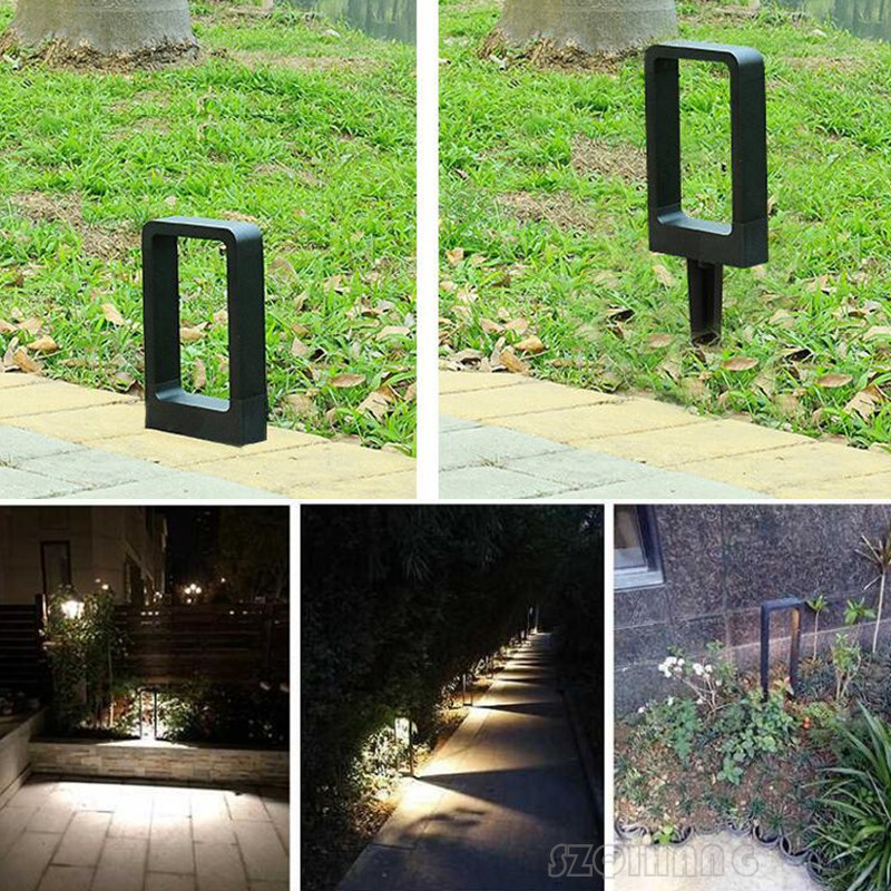 Square LED Bollard Lawn Light For Landscape Garden Yard Square Outdoor Lighting 60cm Led Road Path Decorative Lighting Lawn Lamp