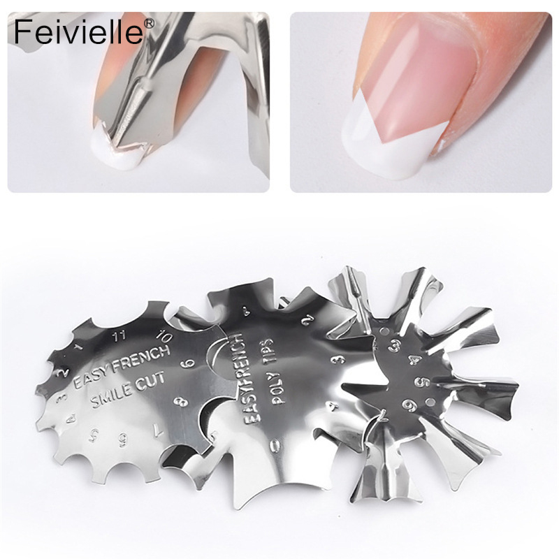 Feivielle French Dip Nail Container Powder Dipping Tray Nail Tips Mold Guides Manicure Nail Art Tool Tips Brush Easy French Cutt