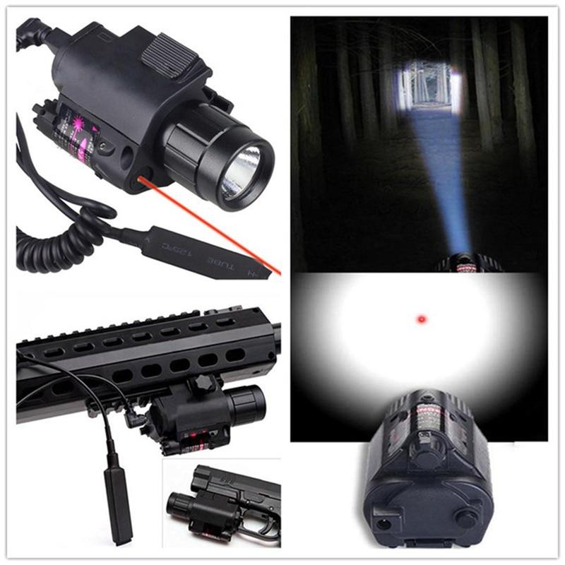 2en1 CREE táctica LED linterna LUZ Luz láser roja + Luz de arma para escopeta para Glock 17 19 22 20 23 31 37