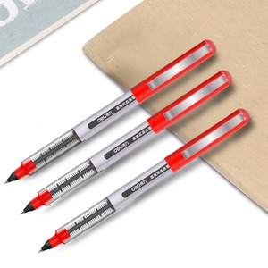 Image 5 - Deli 3 adet lot doğrudan sıvı tükenmez Tungsten karbür boncuk kalem öğrenci siyah kalem 0.5mm jel kalem S656