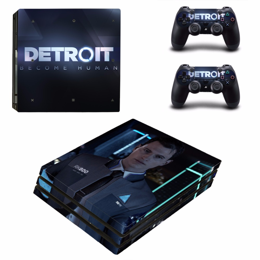 Game Detroit Become Human PS4 Pro Skin Sticker Decal For Sony PS4 PlayStation 4 Console and 2 Controllers PS4 Pro Skins Stickers