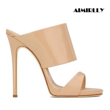 Hohe Ferse Sandalen Patent Leder Mule Frühling Sommer Frauen Metallic Schuhe Nude Rose Gold Slip Auf Große Diagramm 12cm größe 15 16 17