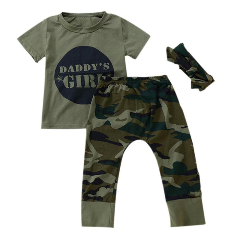 Styles Daddy Baby Boy Girl Cotton Clothing Camouflage Short Sleeve Short Tops Green Long Pants Outfit Casual Outfit Clothes 2pcs children outfit clothes kids baby girl off shoulder cotton ruffled sleeve tops striped t shirt blue denim jeans sunsuit set