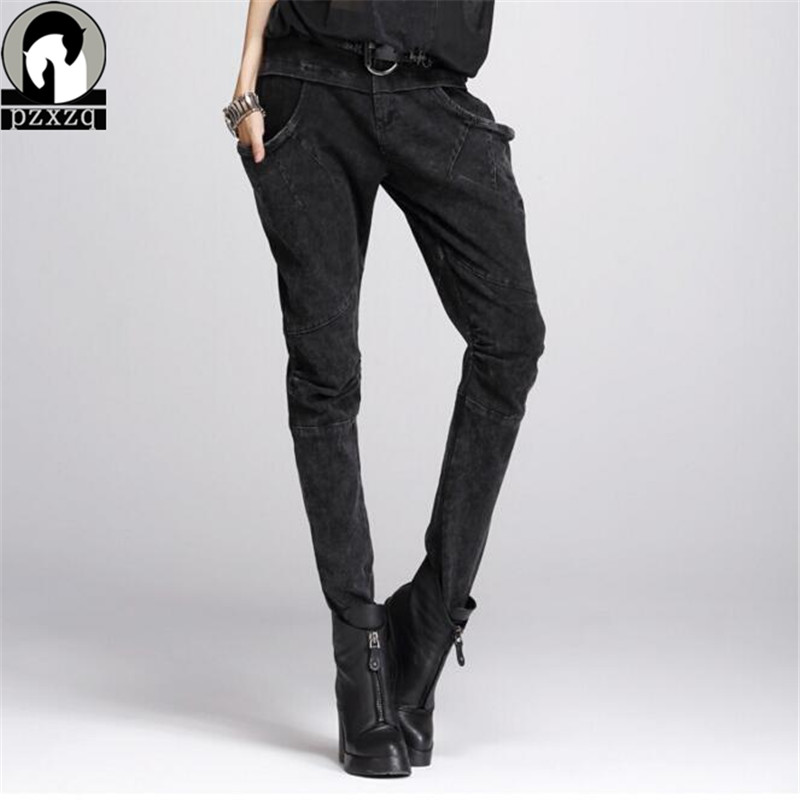 Korean women's harem pants Large pocket denim pants black hip-hop pants plus size sequin women pants 2017 unique womens clothing plus size striped harem pants