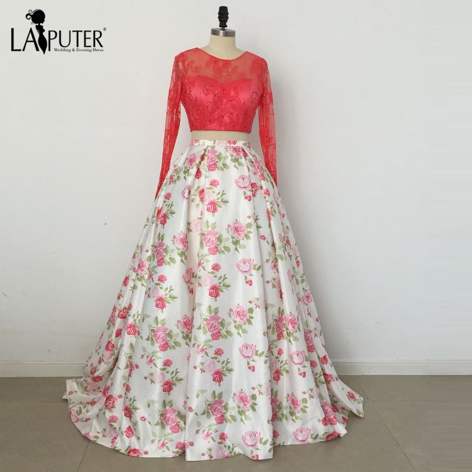 857b1f083c8 Ball Gown Lace Long Sleeve Red Evening Dress Flowers Print Prom Dresses  Formal Gowns Two Pieces Floral Party Dress 2017