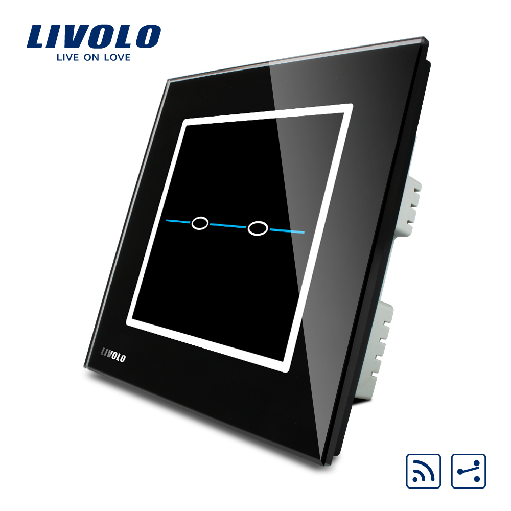 Livolo UK standard 2 Ways  Remote Light Switch,AC 220~250V,2gang 2ways remote, Black Crystal Glass Panel, VL-C302SR-32 smart home uk standard crystal glass panel wireless remote control 1 gang 1 way wall touch switch screen light switch ac 220v