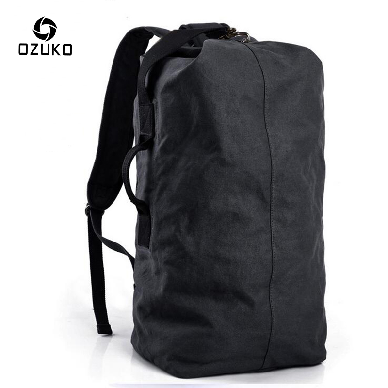 OZUKO Large Capacity Men's backpack Travel Canvas Rucksack Vintage Fashion Multifunctional Casual Travel Shoulder Bag Mochila 2017 ozuko men canvas backpack vintage fashion rucksack large capacity travel mochila 15 inch laptop backpack srudent school bag