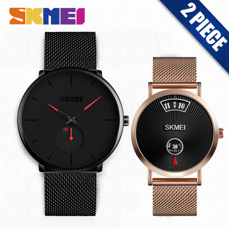 SKMEI Quartz Men Watches Fashion Women Watch Stainless Steel Strap relogio masculino Clock 9185 1489 SetSKMEI Quartz Men Watches Fashion Women Watch Stainless Steel Strap relogio masculino Clock 9185 1489 Set