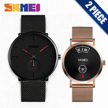 SKMEI Quartz Watch Men Ladies Fashion Casual Wristwatches Waterproof Couple Lovers Watches relogio masculino Clock 9185 1409 Set(China)
