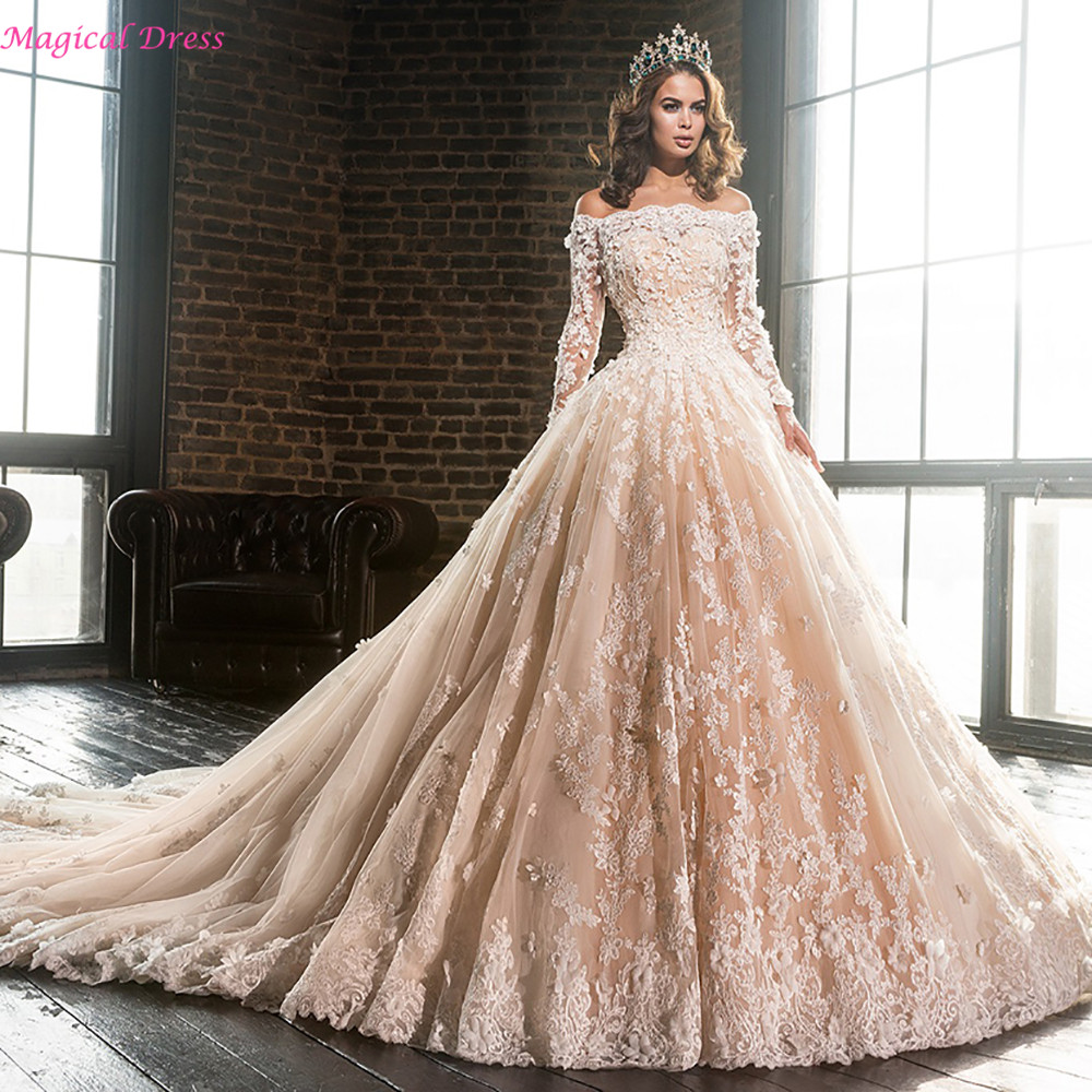 Luxury Wedding Dresses p luxury wedding dresses Ball Gown V neck Court Train Tulle Wedding Dress With Beading Appliques Lace Sequins