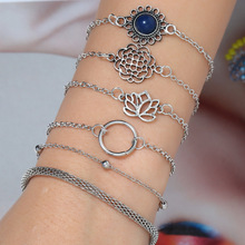 Fashion Boho Charm Bracelets Women Silver Hollow Lotus Chain Link Semi-precious Stone Bracelet Sets Female Jewelry Party Gifts цена