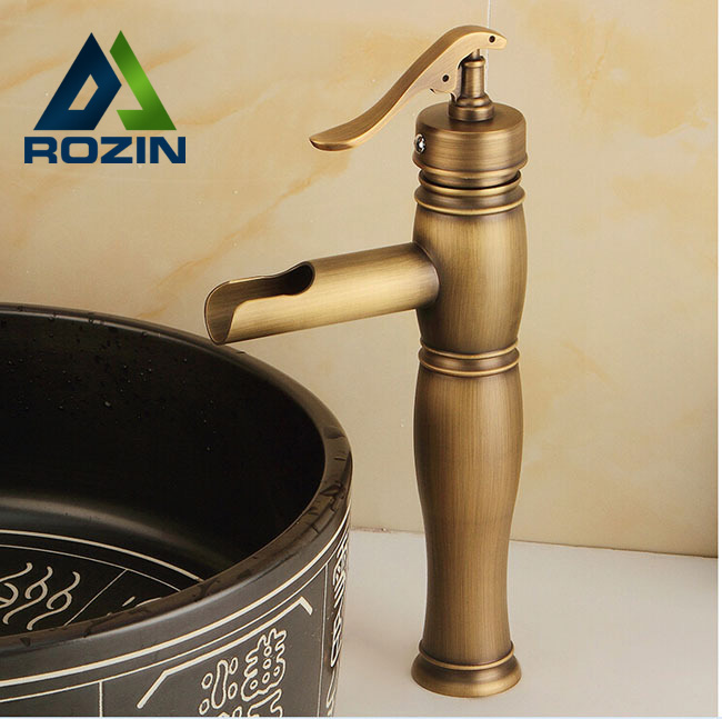ФОТО Brass Antique Single Handle Mixer Basin Faucet Deck Mount Waterfall Basin Sink Faucet Tap