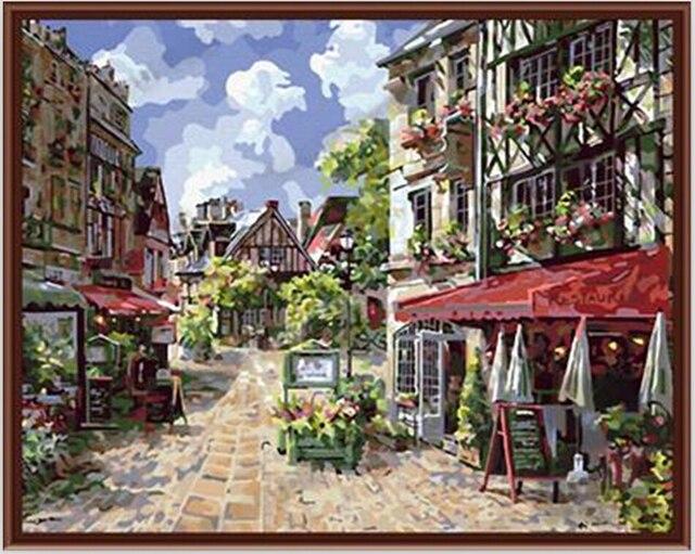 caen frankrijk foto 40x50 cm kleuren door getallen olieverfschilderij vintage interieur foto schilderij nummers g042