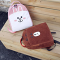 Brown Bear Cannie Rabbit Backpack Cute Cartoon Brown Bear Rabbit Lovely Casual Canvas Backpacks Shoulder Bags