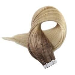 Полный глянцевая лента в 100% Remy натуральные волосы Хаар на клейкие ленты Цвет #7B/613 коричневый выцветания до блондинка балаяж волос 50 г