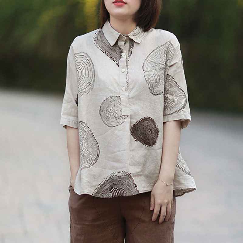 Mferlier Women Summer Big Floral Print Artsy Blouses Turn Down Collar Short Sleeve Casual Cotton Linen Summer Top