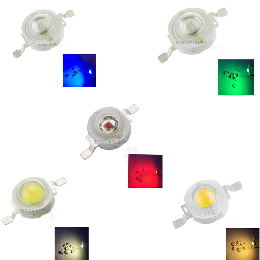 10-100 sztuk wysokiej dioda led dużej mocy Chip 1W 3W ciepły zimny biały czerwony niebieski zielony UV pełne spektrum 490nm 660nm 445nm oświetlenie led do uprawy